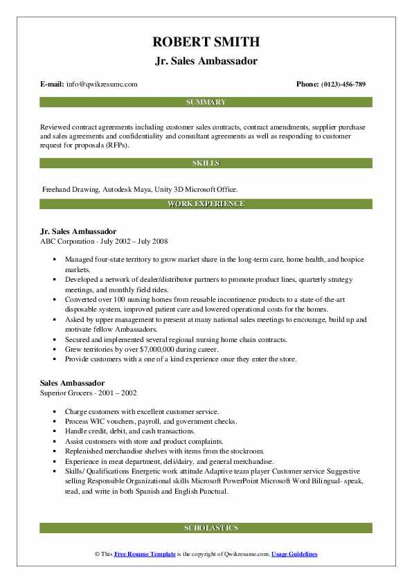sales ambassador resume samples