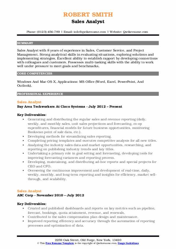 sales analyst resume samples