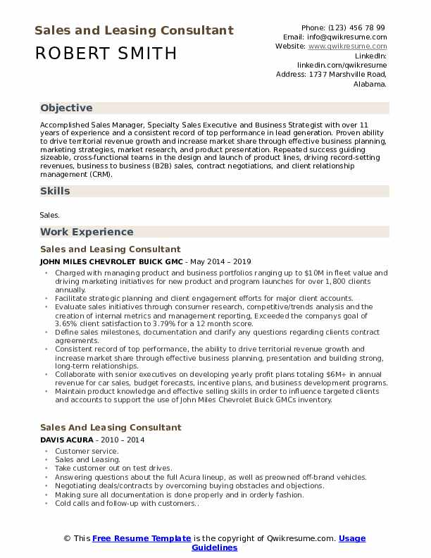 Sales and Leasing Consultant Resume Sample