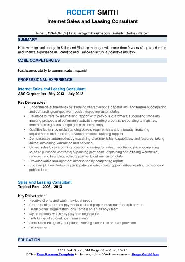 Internet Sales and Leasing Consultant Resume Sample