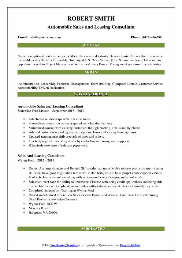 Automobile Sales and Leasing Consultant Resume Template