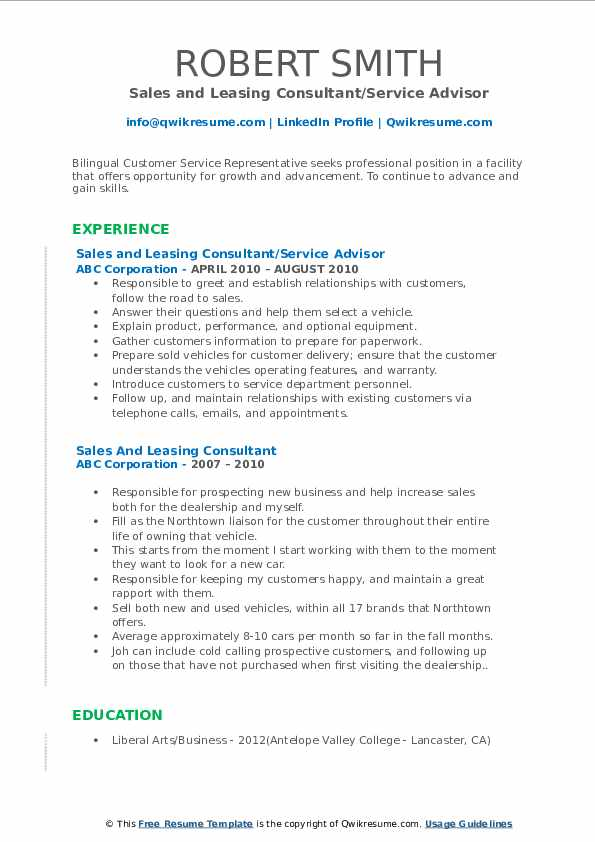 Sales and Leasing Consultant/Service Advisor Resume Example