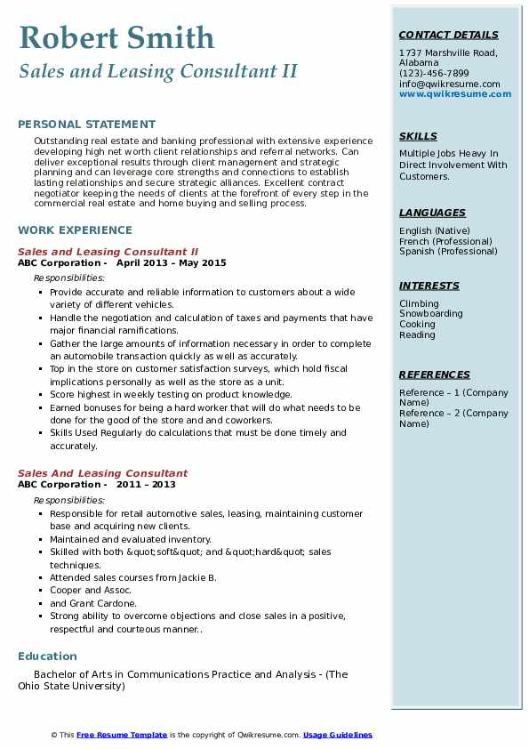 Sales and Leasing Consultant II Resume Example