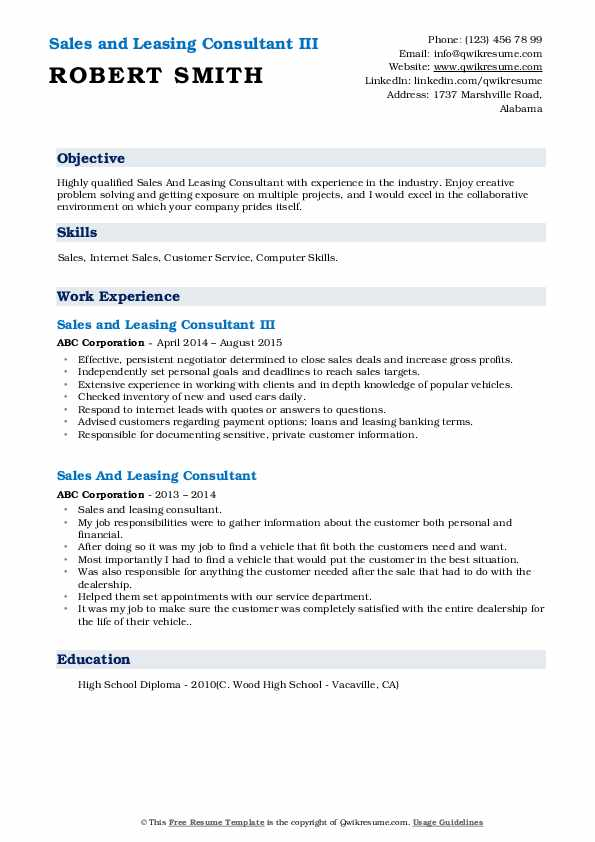 Sales and Leasing Consultant III Resume Example