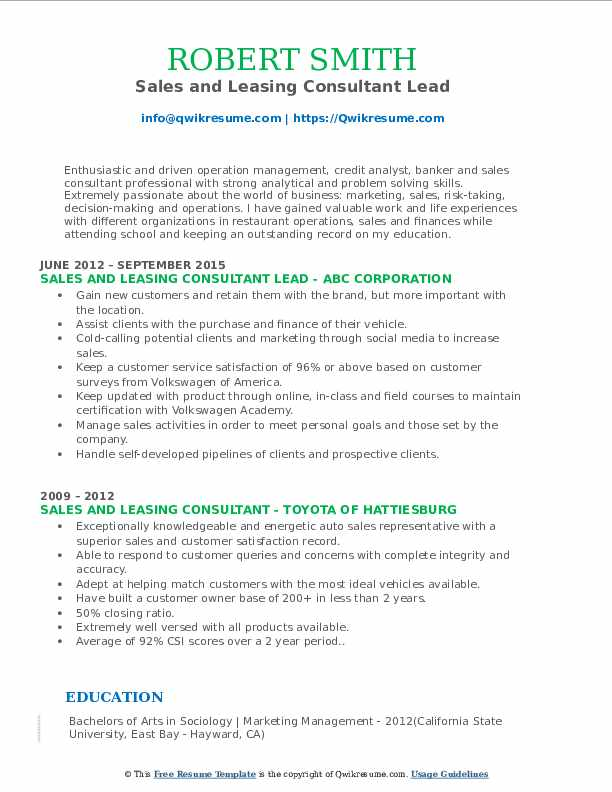 Sales and Leasing Consultant Lead Resume Example