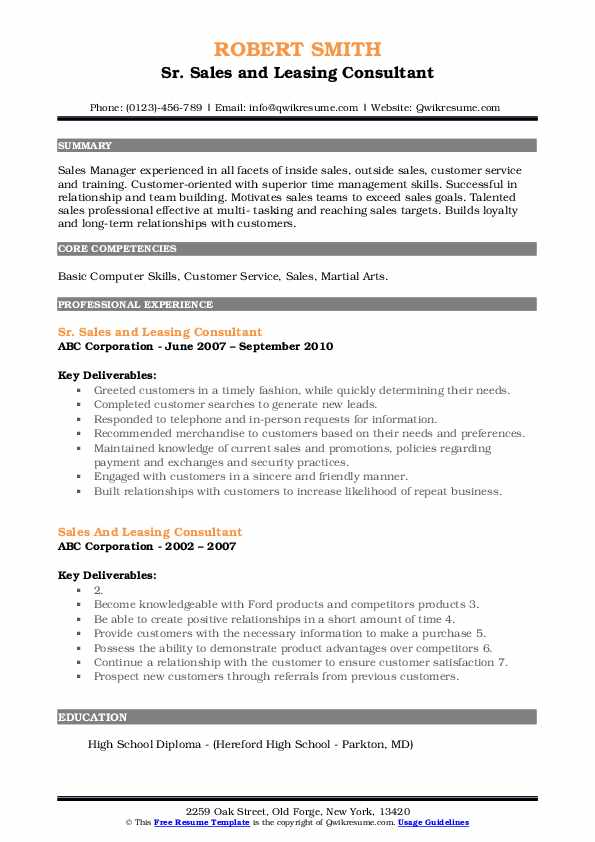 Sr. Sales and Leasing Consultant Resume Template