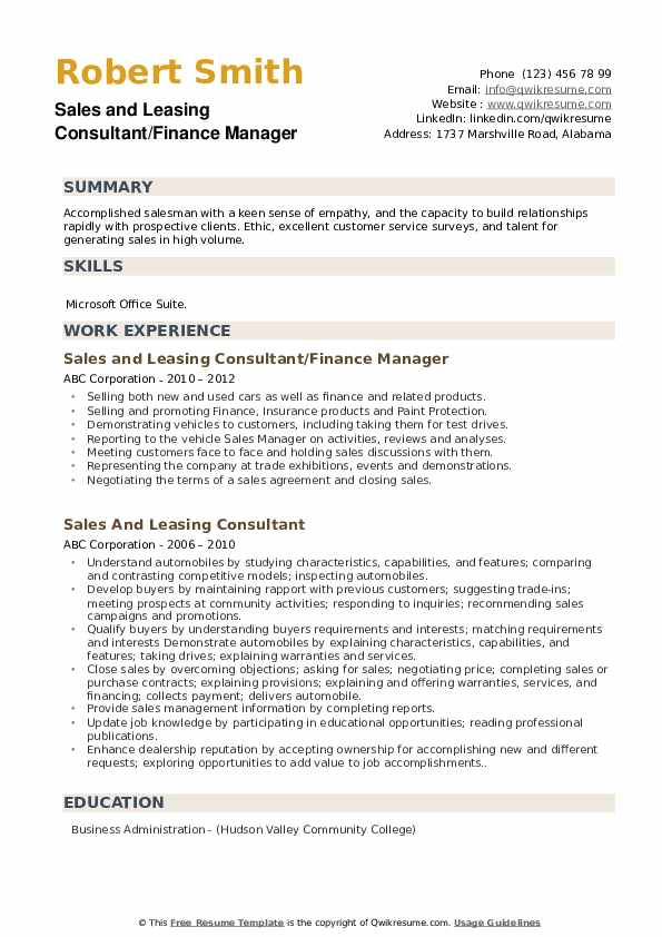 Sales and Leasing Consultant/Finance Manager Resume Format