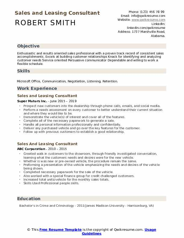 Sales And Leasing Consultant Resume example