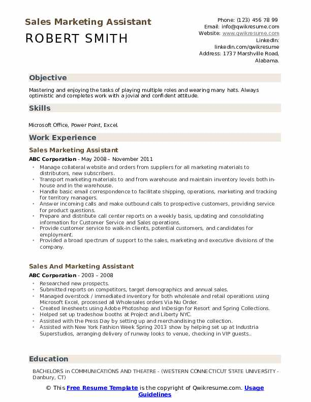 sales and marketing assistant resume samples