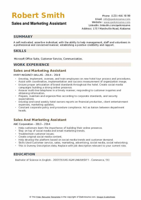 Sales And Marketing Assistant Resume example