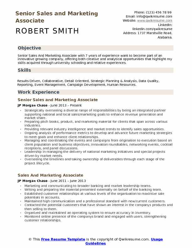 Senior Sales and Marketing Associate Resume Format
