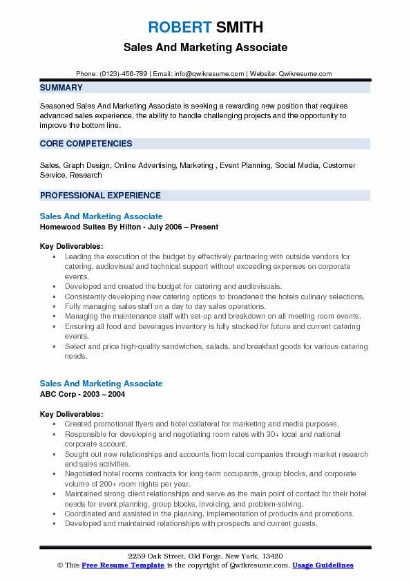 Sales And Marketing Associate Resume Example