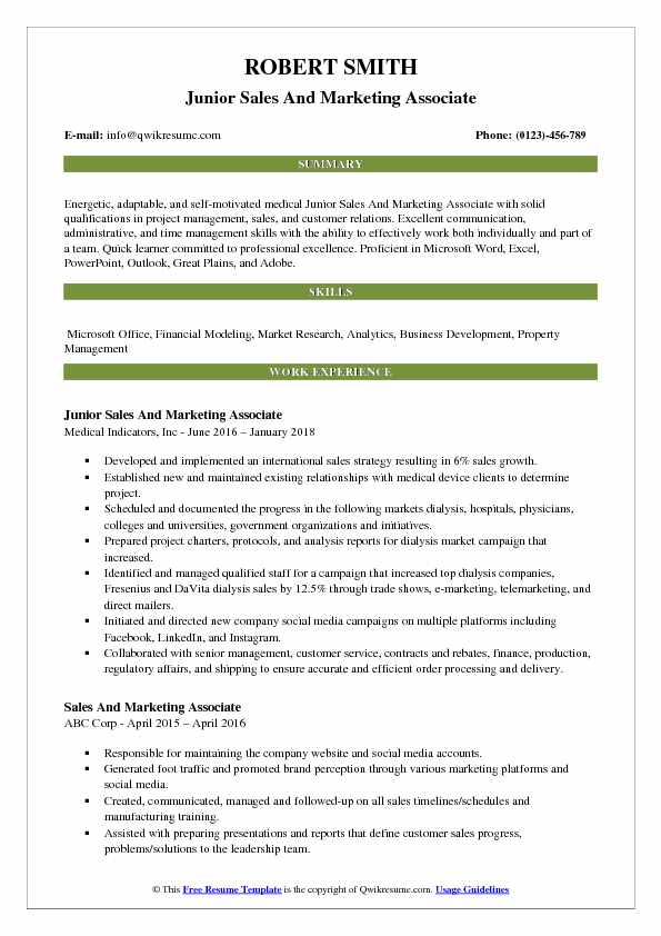 Junior Sales And Marketing Associate Resume Example