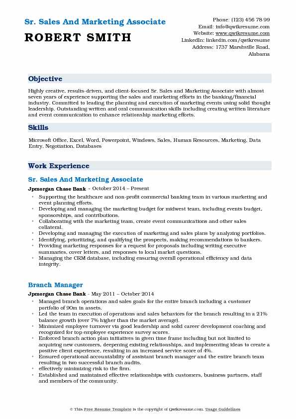 Sr. Sales And Marketing Associate Resume Sample
