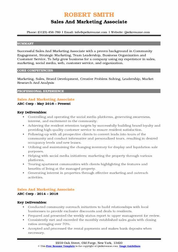 Sales And Marketing Associate Resume Model