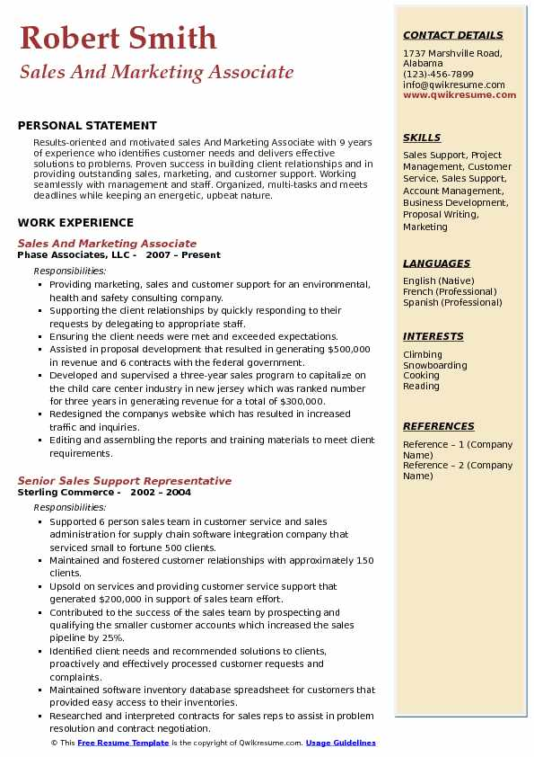 Sales And Marketing Associate Resume Format