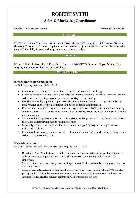 Sales & Marketing Coordinator Resume Format