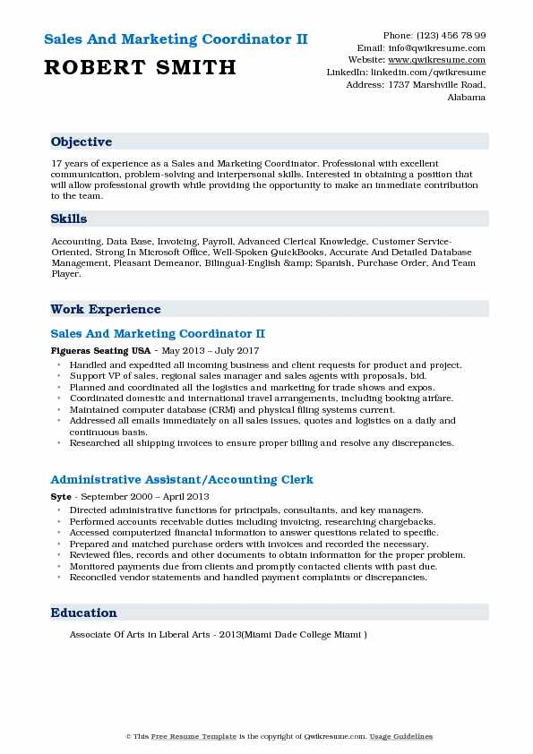 Sales And Marketing Coordinator II Resume Sample