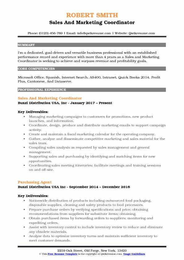 Sales And Marketing Coordinator Resume Sample