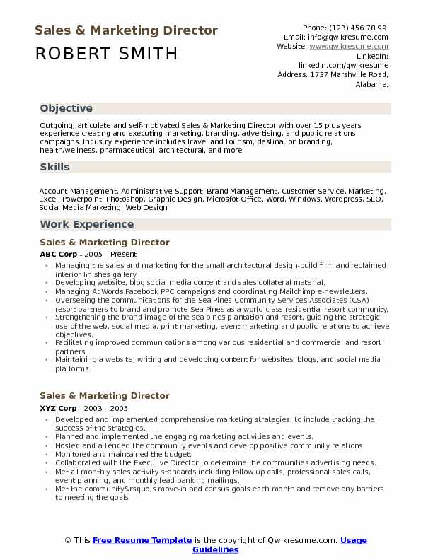 Sales and Marketing Director Resume Samples | QwikResume