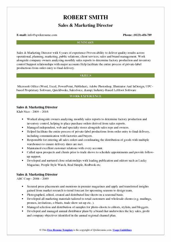 Sales & Marketing Director Resume Model