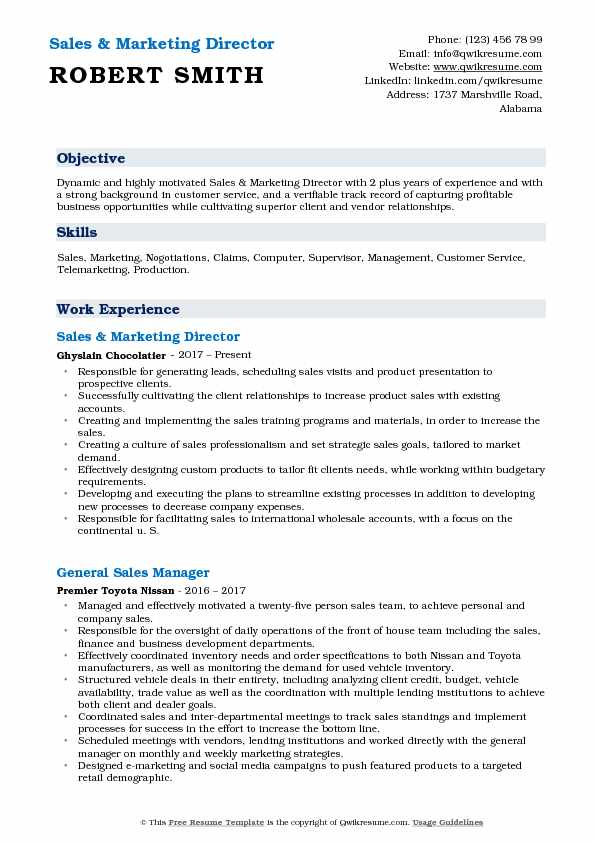sales and marketing director resume samples qwikresume