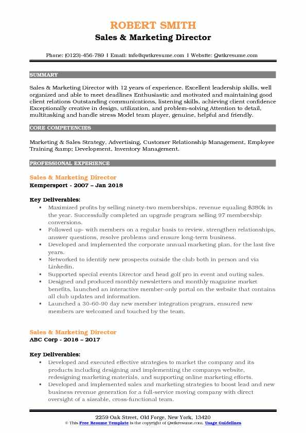 Sales & Marketing Director Resume Template