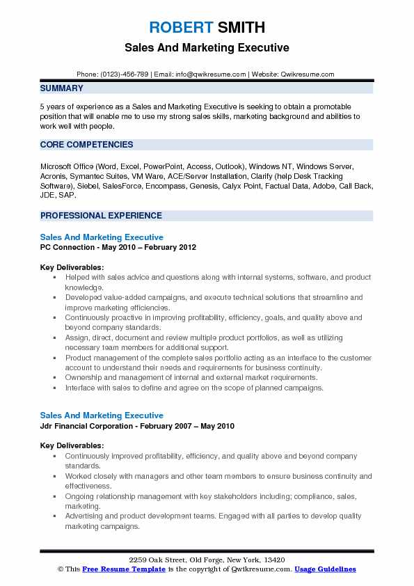 Sales And Marketing Executive Resume Sample