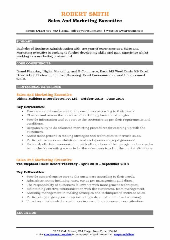 sales and marketing executive resume samples