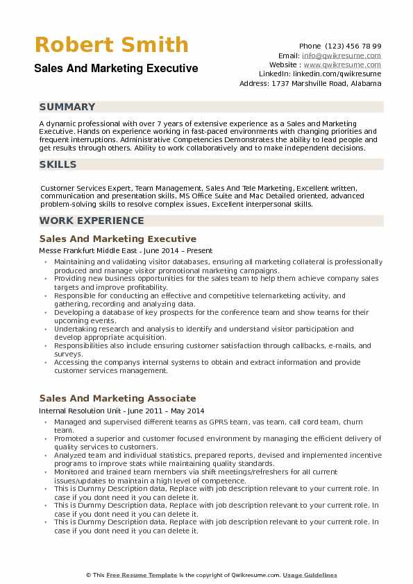 Executive Resume Examples | Sales And Marketing Executive Resume Samples Qwikresume
