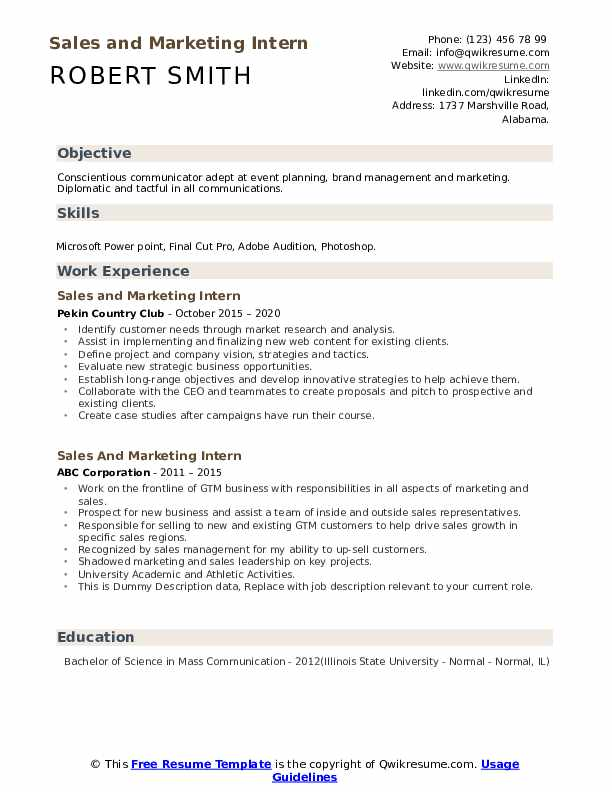 Sales And Marketing Intern Resume example