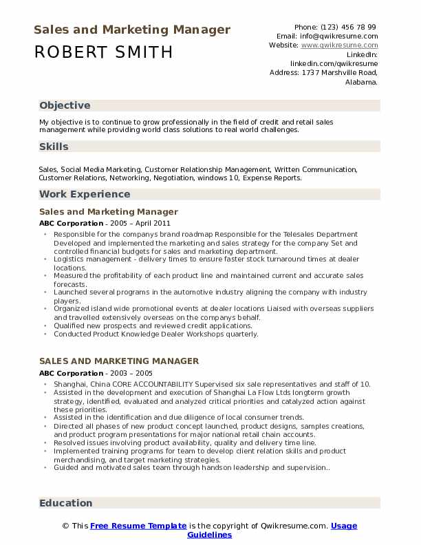 sales and marketing manager resume samples