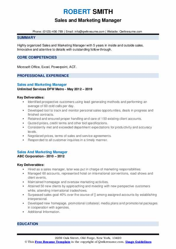 Sales And Marketing Manager Resume example