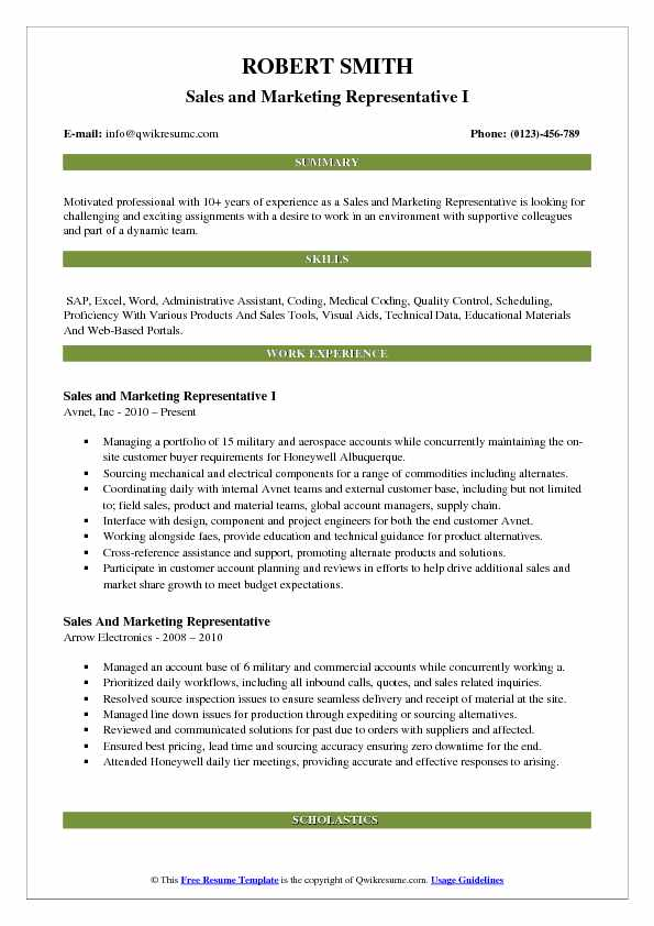 Sales and Marketing Representative I Resume Format
