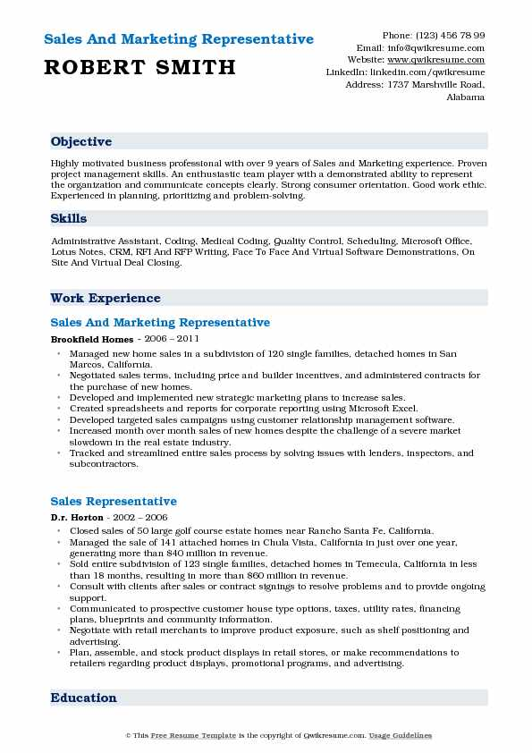 Sales And Marketing Representative Resume Sample