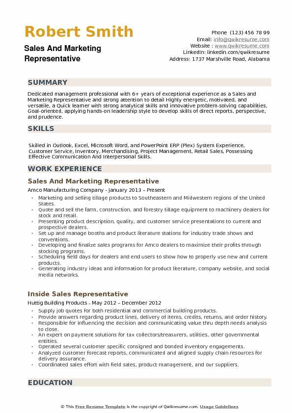 Sales and Marketing Representative Resume example