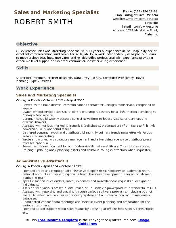 Sales and Marketing Specialist Resume Model