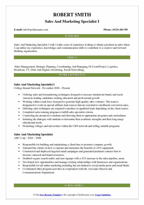 Sales And Marketing Specialist I Resume Template