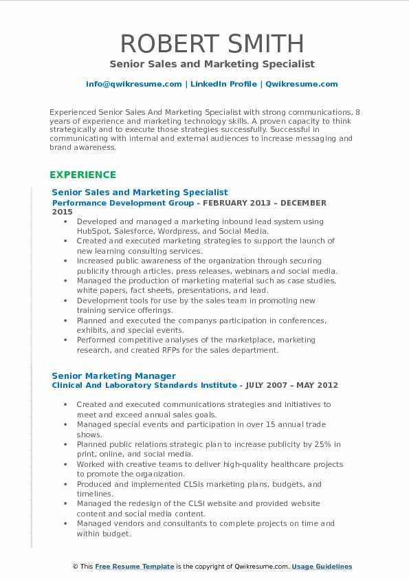 Senior Sales and Marketing Specialist Resume Format