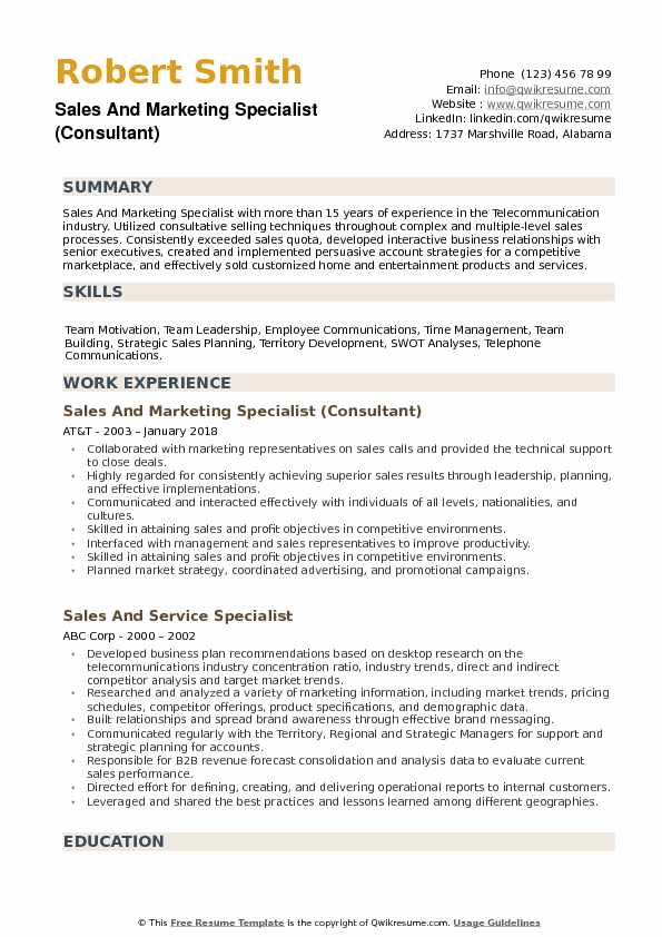Sales and Marketing Specialist Resume example
