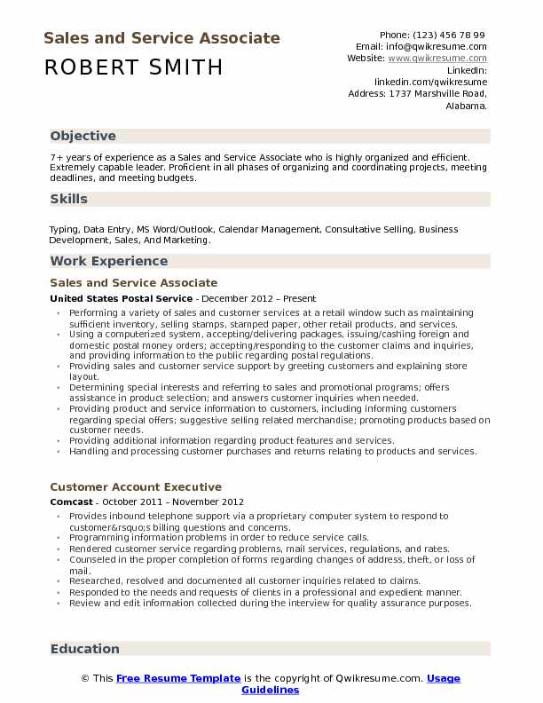 Sales and Service Associate Resume Format