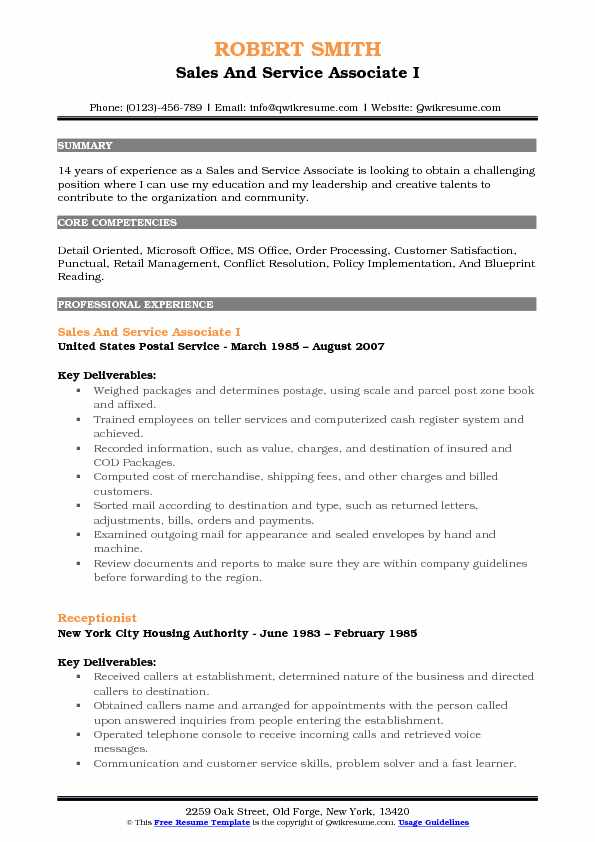 Sales And Service Associate I Resume Model