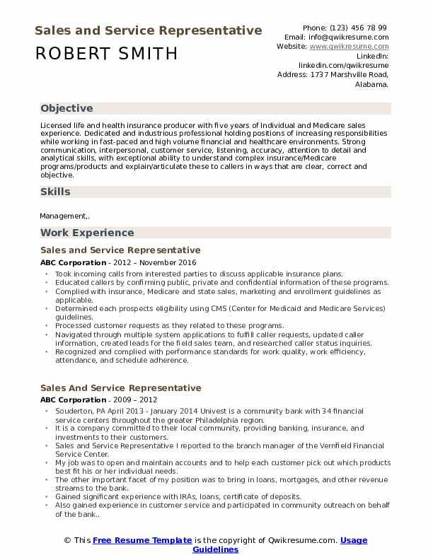Sales And Service Representative Resume Samples Qwikresume