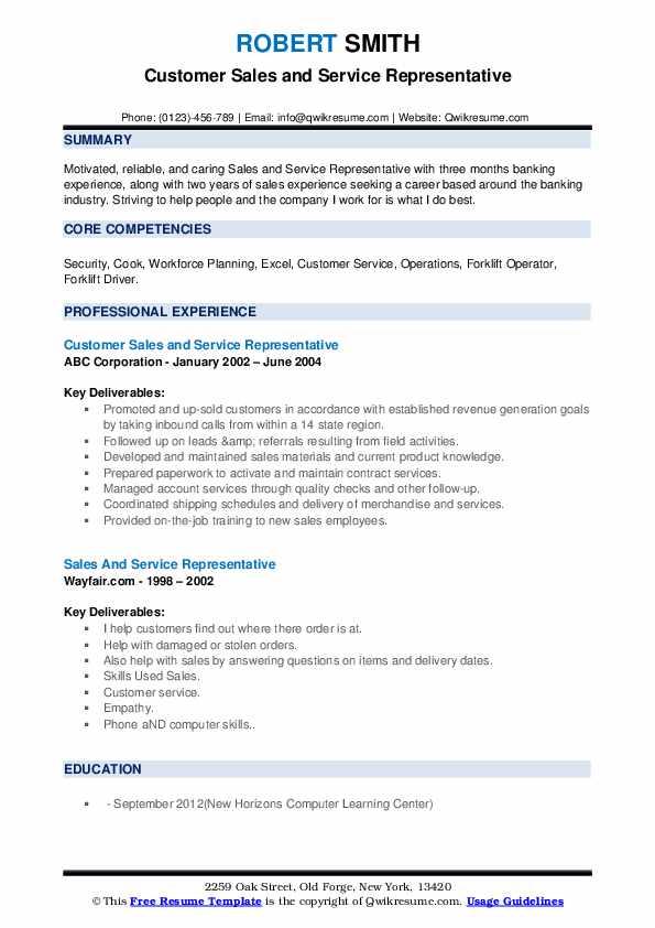 Customer Sales and Service Representative Resume Sample