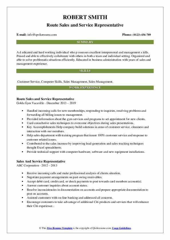 Route Sales and Service Representative Resume Model