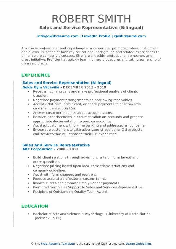 Sales and Service Representative (Bilingual) Resume Model