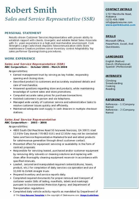 Sales and Service Representative (SSR) Resume Model