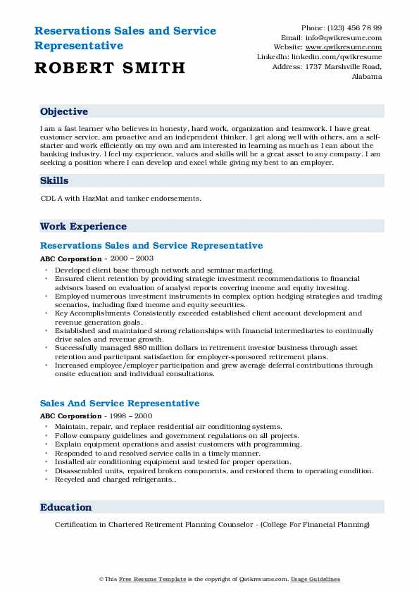Reservations Sales and Service Representative Resume Sample