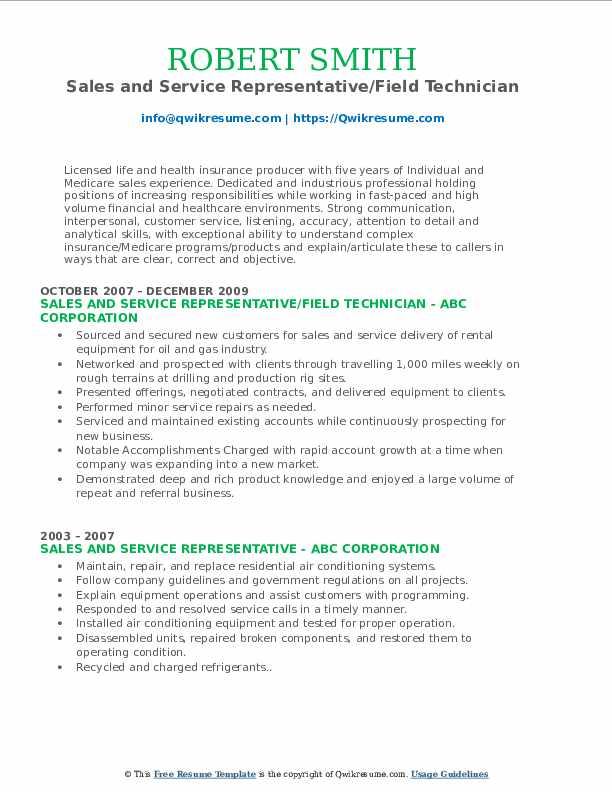 Sales and Service Representative/Field Technician Resume Format