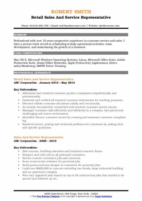 sales and service representative resume samples